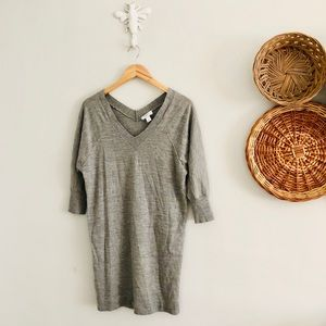 LOFT Gray V-Neck Tunic Sweater